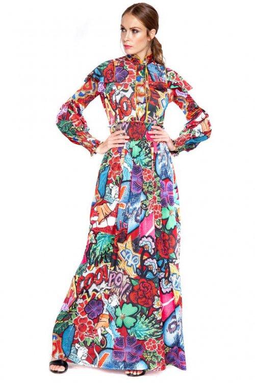 Vestido MANGATA Largo Estampado Cómic 1902-231