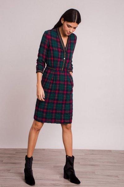 Vestido ALBA CONDE Cuadros Marino 5413-126-30