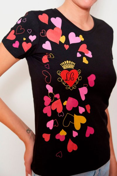 Camiseta LA CONDESA Corazón Punto Negra
