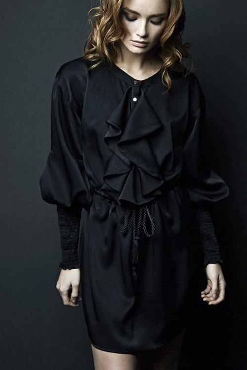 Vestido IMILOA Negro Satín Mia IPE-M03