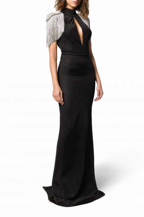 Vestido ELISABETTA FRANCHI Largo Hombreras Joya AB13398E2