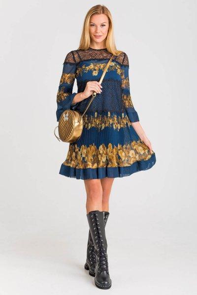 Vestido TWINSET Con Parches De Flores Barroco 192TT2542