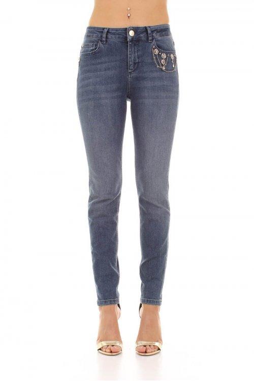 Jeans TWINSET Lavado Con Flores De Strass 192MT2224