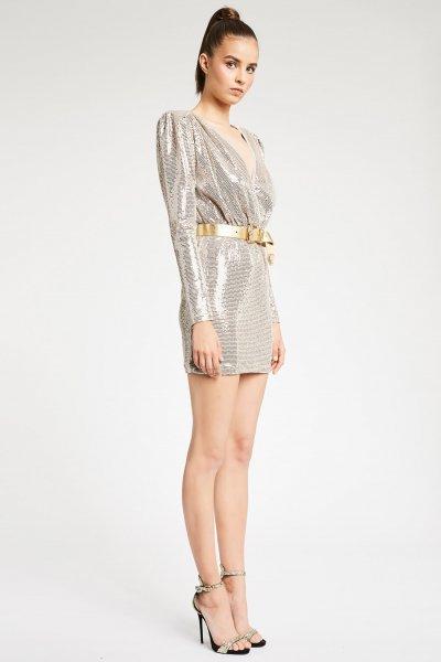Vestido DENNY ROSE Paillettes Escote Cruzado 921DD10052