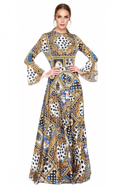 Vestido MANGATA Largo Estampado Perritos 1902-001.B