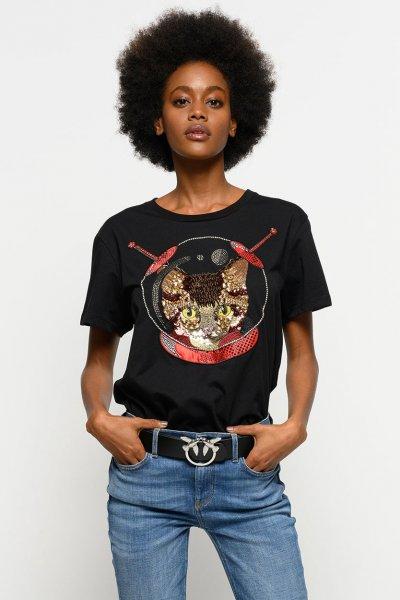 Camiseta PINKO Gato Cósmico Joya 1B147YY5BD