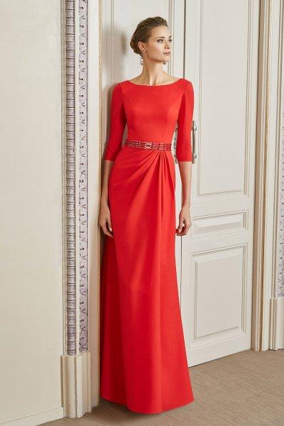Vestido MARFIL Largo Crepe Rojo 4g104