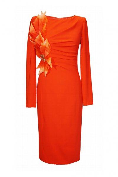 Vestido CARLA RUIZ Drapeado Adorno Floral 96670