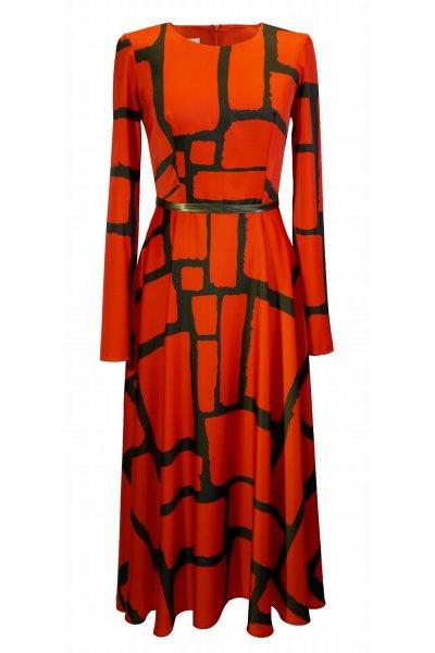 Vestido CARLA RUIZ Midi Estampado Naranja 96563