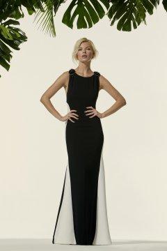Vestido CARLA RUIZ Largo Bicolor Aplique Joya 96665