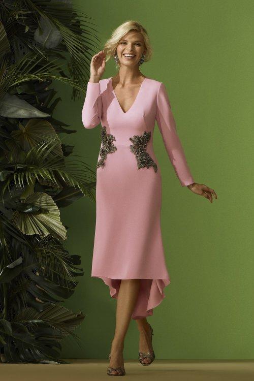 Vestido CARLA RUIZ Rosa Aplicaciones Joya 96664