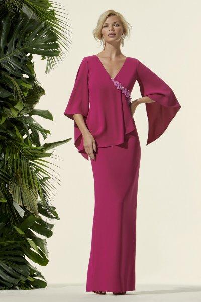 Vestido CARLA RUIZ Largo Capa 96668