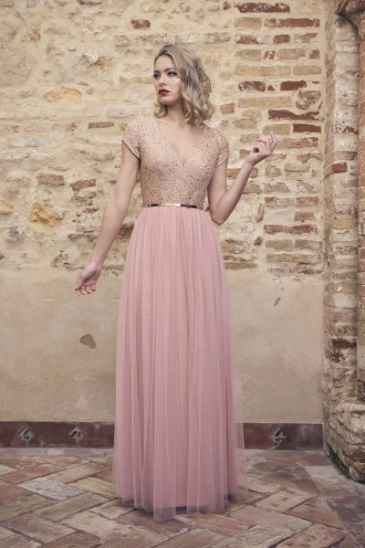 Vestido NURIBEL Largo Tul y Pailletes 1490500