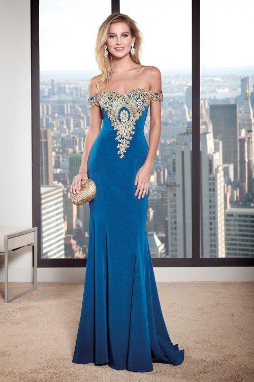Vestido SUSANNA RIVIERI Largo Bordado Dorado 309171
