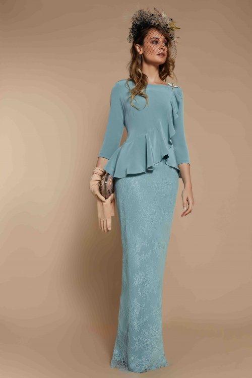 Vestido MATILDE CANO Madrina Largo Combinado 7802