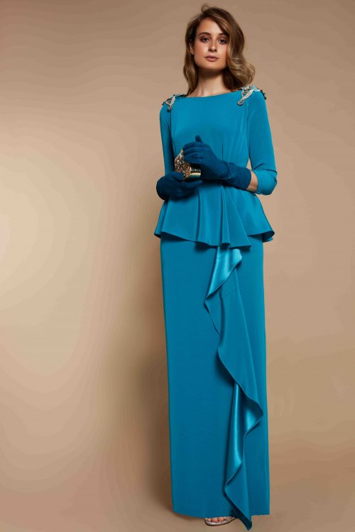 Vestido MATILDE CANO Madrina Hombros Joya 7812