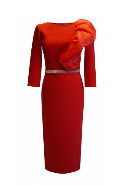 Vestido CARLA RUIZ Rojo Volante Gazar 96694