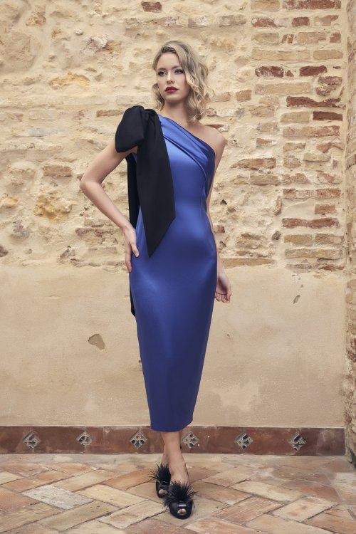 Vestido NURIBEL Midi Asimétrico Lazo 14953