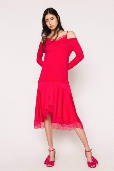 Vestido TWINSET De Punto Con Satén Efecto Lencero 201TP3070