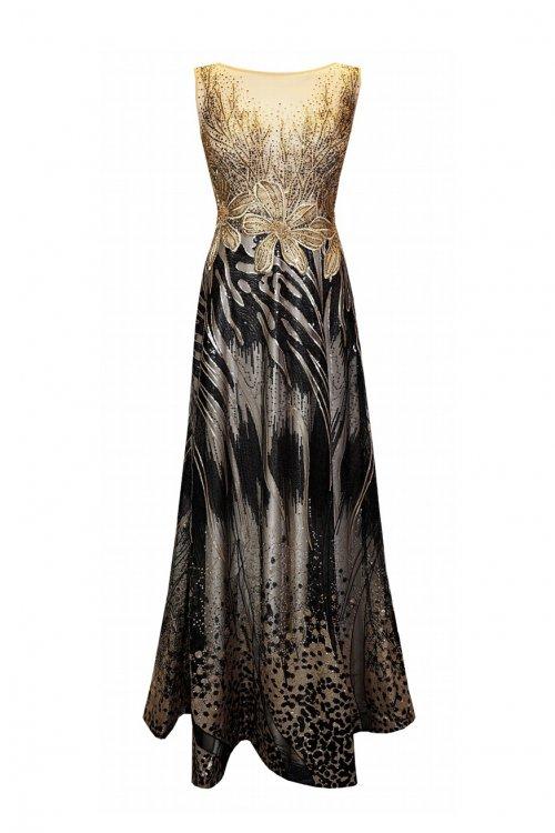 Vestido CARLA RUIZ Largo Cuerpo Joya Dorado 96455