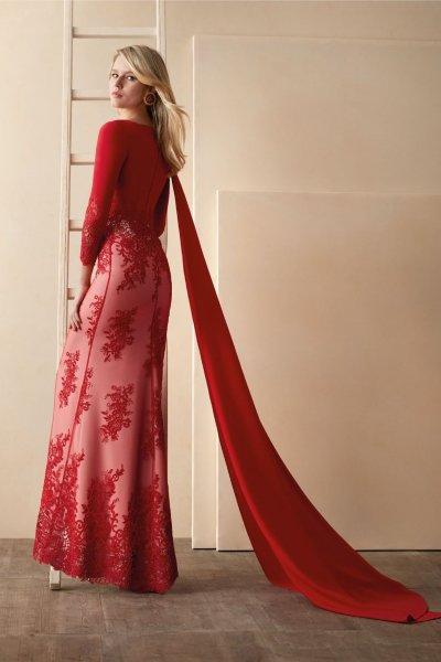 Vestido VALERIO LUNA Largo Combinado VL5033