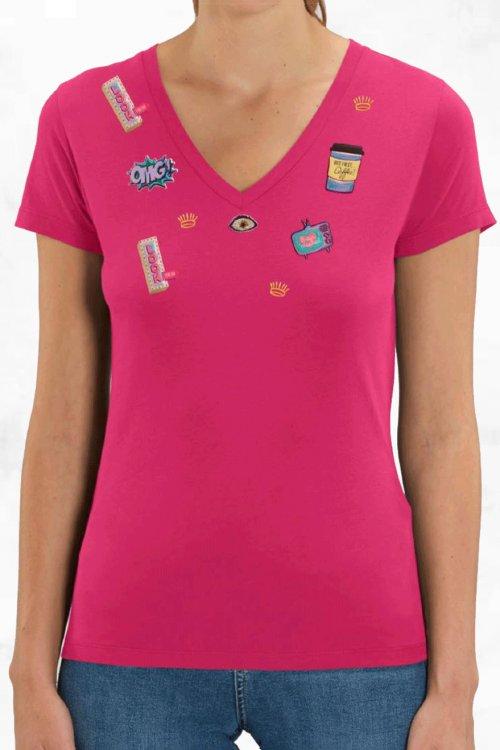 Camiseta LA CONDESA Fuxia APLIQUES W023