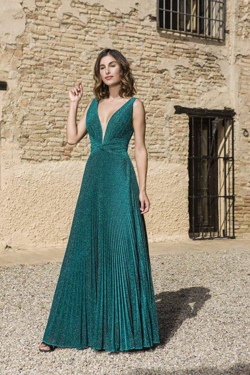 Vestido X&M Largo Plisado Verde 50103
