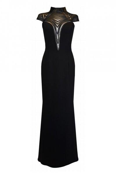 Vestido CARLA RUIZ Largo Negro Transparencias 96667