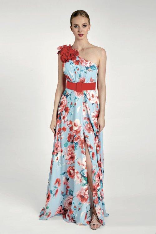 Vestido MARIA LAGO Largo Asimétrico Estampado 1436 KALEY