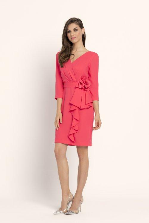 Vestido EVASSE Corto Coral Detalle Flor 61008105