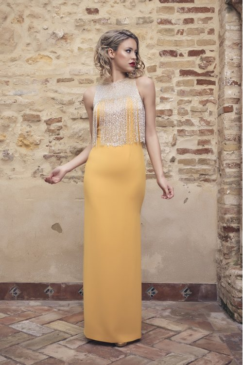 Vestido NURIBEL Largo Flecos Cristal 1491800