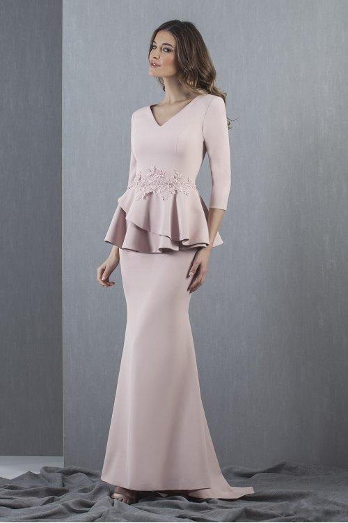 Vestido MONCHO HEREDIA Largo Peplum Nude 5003.1