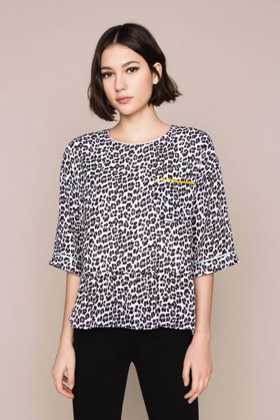 Blusa TWINSET De Georgette Animal Print 201MP2441