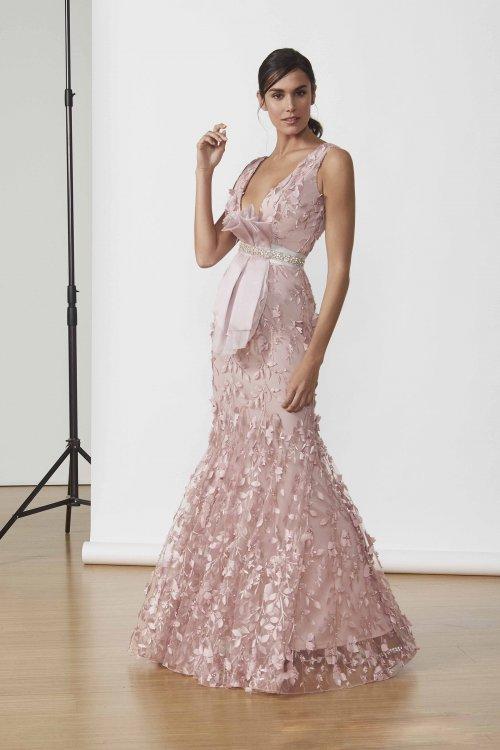 Vestido MATILDE CANO Largo Flores 3D 2627