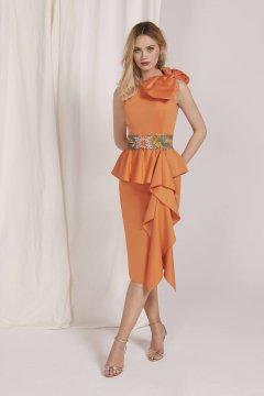 Vestido MASS MATILDE CANO Corto Naranja + Fajin L553