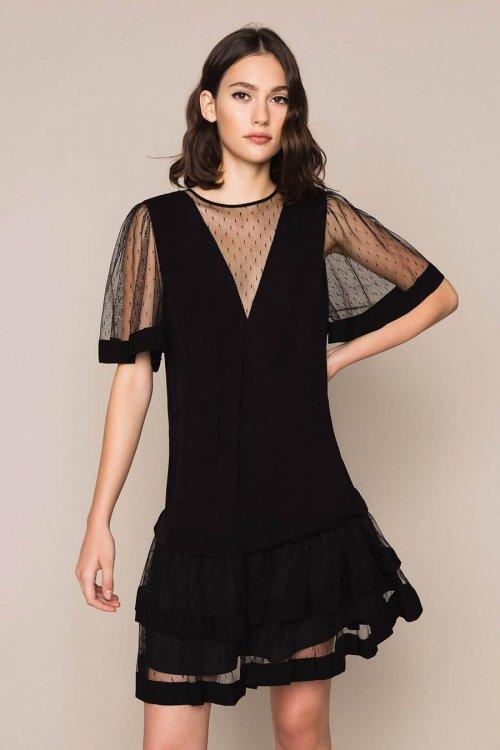Vestido TWINSET De Crepé De China Y Tul Plumetis 201TP2371