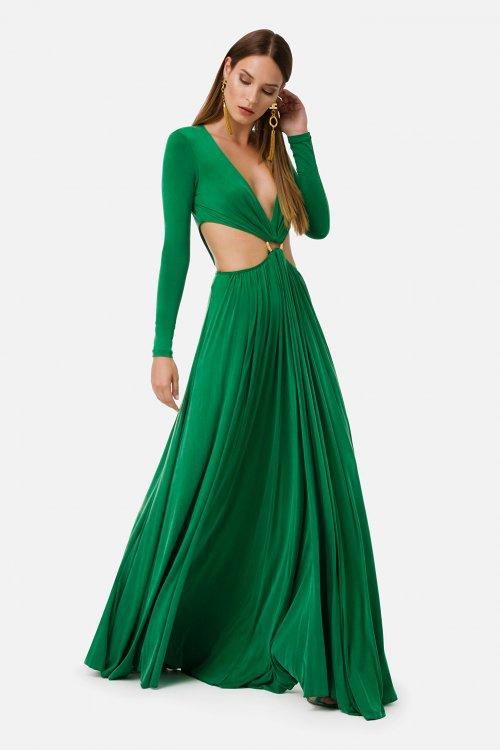 Vestido ELISABETTA FRANCHI Largo Cutout Con Hebilla AB23501E2