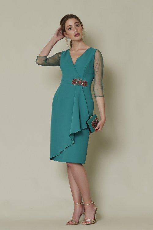 Vestido SARA RUIZ Corto Verde Aplicación Joya 29008
