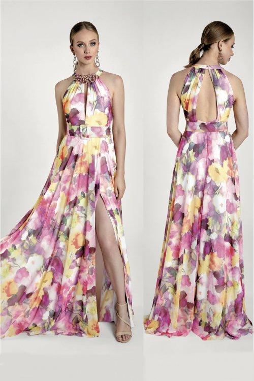 Vestido MARIA LAGO Largo Escote Halter IDOLA 1411