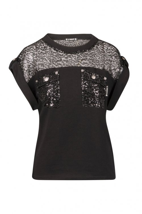 9729 Camiseta HIGHLY PREPPY Red Sequins Negra