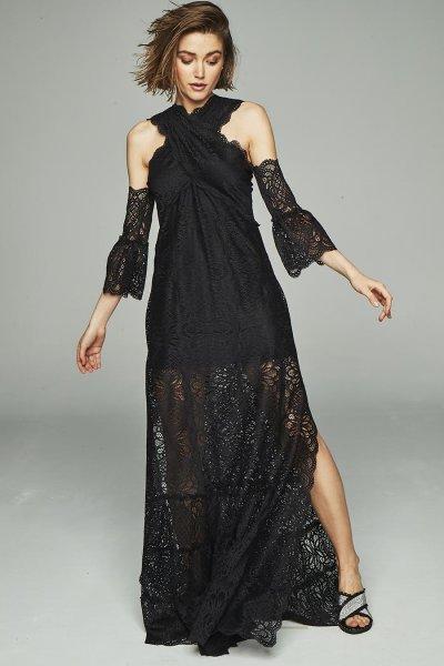 Vestido HIGHLY PREPPY Puntillas Largo Negro 7776