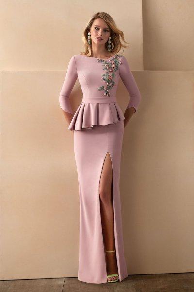 Vestido VALERIO LUNA Largo Detalle Joya VL5023