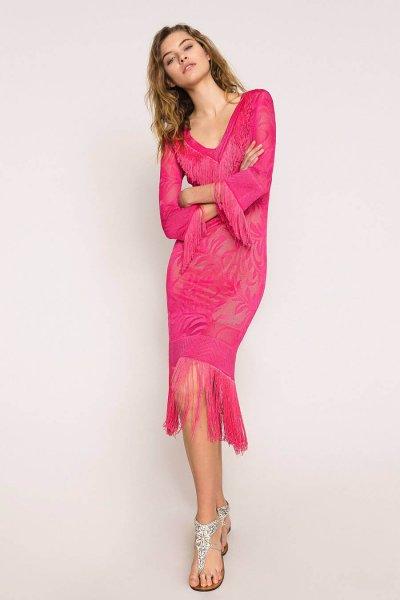 Vestido TWINSET De Punto De Encaje Con Flecos 201TT3010
