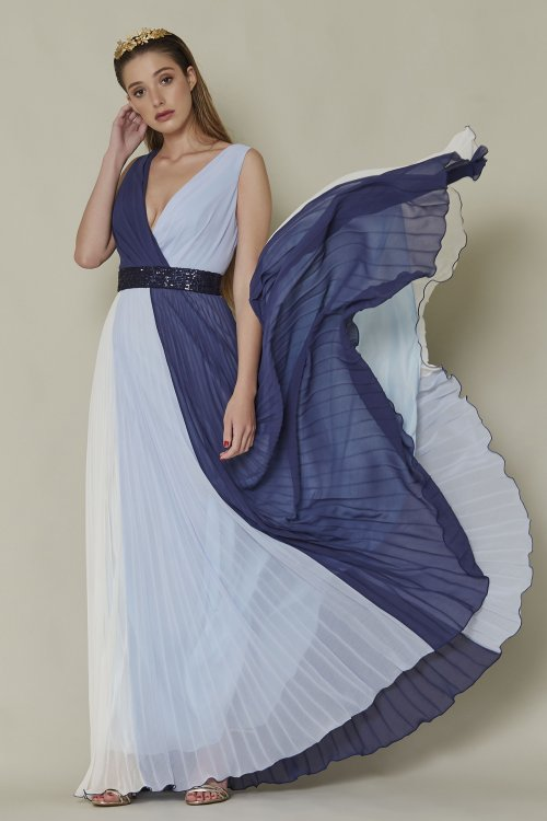 Vestido SARA RUIZ Largo Tricolor Plisado 29091