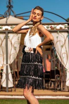 Vestido BETZZIA Corto Falda Flecos v20329