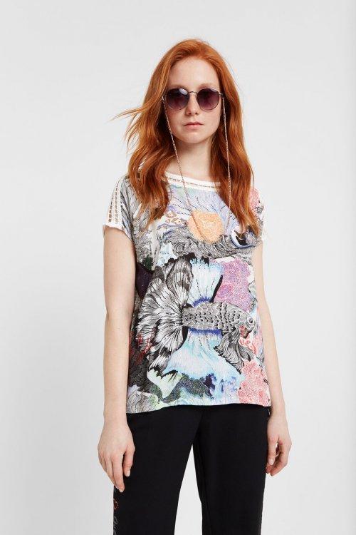 Camiseta DESIGUAL Viena Grabado Japonés Y Ganchillo 20SWTK923000
