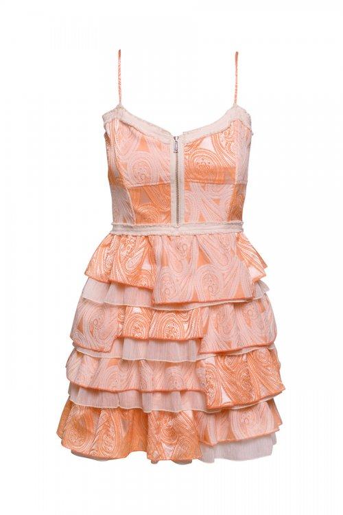 Vestido HIGHLY PREPPY Paisley Volantes Naranja 7745