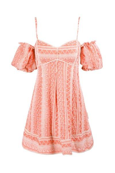 Vestido HIGHLY PREPPY Sin Hombros Coral 7778
