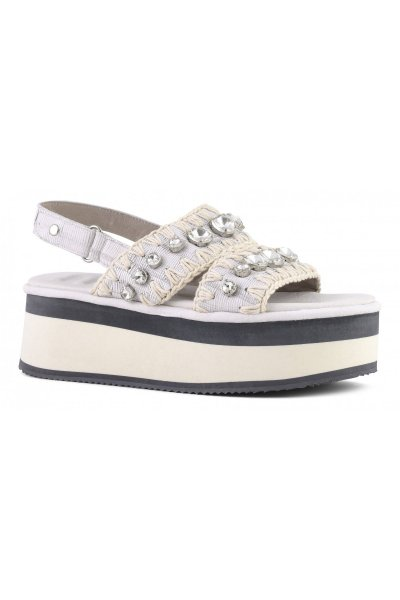 Flatform MOU Criss-Cross Big Crystals Cut Leather White MU.FLASANCRY CUTWHI