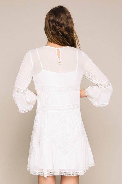 Vestido TWINSET De Georgette Con Bordado Y Encaje 201TT2082
